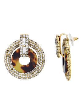 Tortoise And Crystal Earrings by Elizabeth Cole