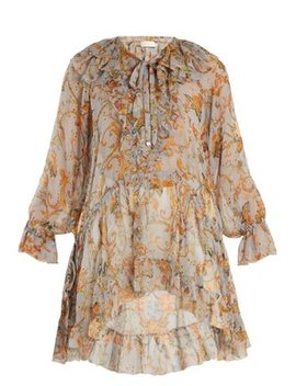 Painted Heart Floral Print Ruffled Silk Top by Zimmermann