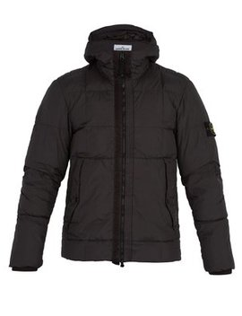 Hooded Down Quilted Jacket by Stone Island