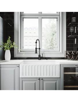 "Vigo 30"" Matte Stone Farmhouse Apron Front Kitchen Sink by Vigo"