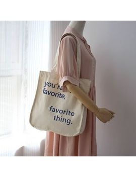 Ms Bean   Lettering Canvas Tote Bag by Ms Bean