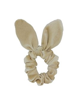 Set Of 2 Bunny Ear Bow Bowknot Ponytail Holder Hair Tie Band Hair Scrunchies (Beige) by Susulu