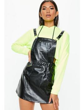 Black Faux Leather Pinafore Dress by Missguided