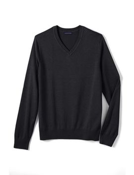 Men's Cotton Modal V Neck Sweater by Lands' End