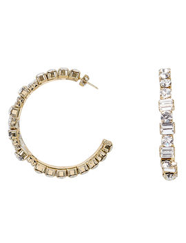 Gelo Baguette And Round Crystal Hoops by Rosantica
