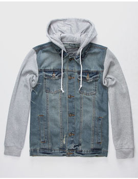 Brooklyn Cloth Fleece Sleeve Mens Hooded Denim Jacket by Brooklyn Cloth