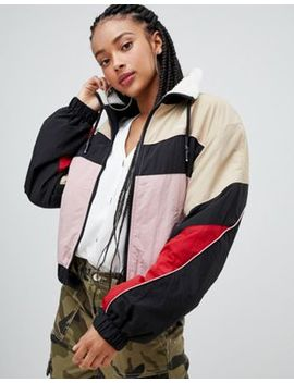Bershka Zip Up Lined Windbreaker by Bershka