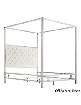 Solivita Chrome Metal Canopy Bed With Tufted Headboard By I Nspire Q Bold by I Nspire Q