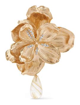 Wild Rose Ohrclip Aus 18 Karat Gold Mit Diamanten Und Quarz by Ole Lynggaard Copenhagen