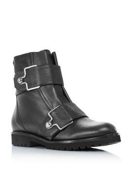 Women's Gabiria Round Toe Leather & Fur Booties by Bally