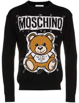 Teddy Bear Intarsia Safety Pin Virgin Wool Jumper by Moschino