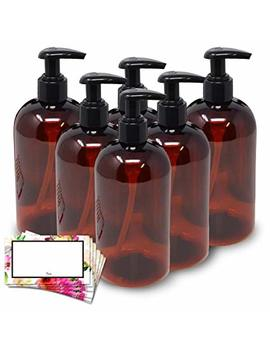 Baire Bottles  16 Oz Brown Amber Plastic Refillable Bottles With Black Lotion Pumps, Organize Soap, Shampoo, Lotion... by Baire Bottles