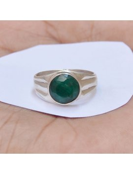 Sale Beautiful Real Green Emerald Gemstone Ring, Wedding Gift, Round Gemstone, 925 Sterling Silver Ring, Emerald Ring, All Size Available, by Etsy