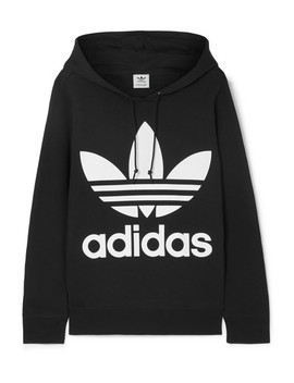 Trefoil Printed Cotton Jersey Hoodie by Adidas Originals