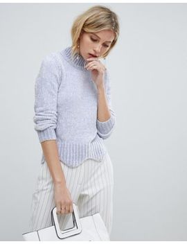 Oasis Chenille Jumper With Scallop Edge In Lilac by Oasis