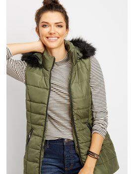 Black Fur Puffer Vest by Maurices