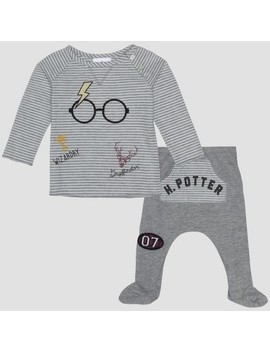 Baby Boys' Harry Potter 2pc Long Sleeve T Shirt And Footed Joggers With Kangaroo Pocket Set   Gray by Harry Potter