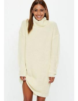 Cream Basic Roll Neck Jumper Dress by Missguided