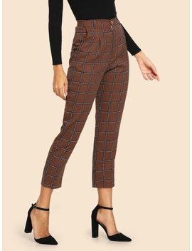 50s Plaid Pocket Side Pants by Shein