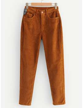 Solid Corduroy Pants by Shein