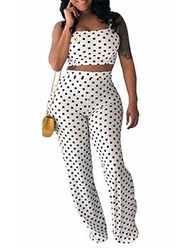 Women's 2 Pieces Outfit Polka Dot Sleeveless Spaghetti Strap Crop Tank Top Flare Long Pants Set by Lajiojio