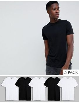 Asos Design Organic T Shirt With Crew Neck 5 Pack Save by Asos Design