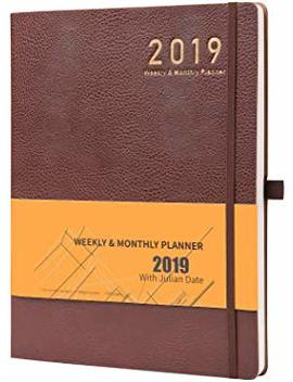 "Planner 2018 2019 With Pen Holder  Academic Weekly, Monthly And Yearly Planner. Thick Paper To Achieve Your Goals & Improve Productivity, 8.5"" X 11"", Back Pocket With Julian Date by Planner 2018 2019"