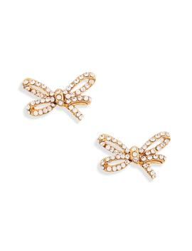 Crystal Mini Bow Earrings by Oscar De La Renta