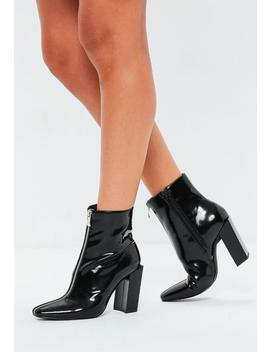 Black Feature Heel Full Zip Ankle Boots by Missguided