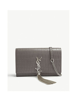 Kate Croc Embossed Leather Wallet On Chain by Saint Laurent