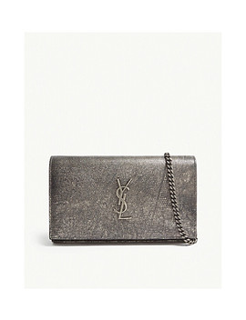 Monogram Metallic Leather Cross Body Purse by Saint Laurent