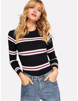 Contrast Striped Skinny Sweater by Sheinside