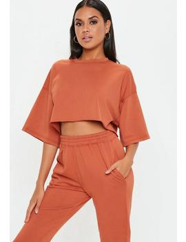Rust Oversized Crop T Shirt by Missguided