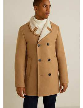 Faux Shearling Lined Lapel Coat by Mango