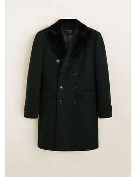 Detachable Lapel Wool Coat by Mango