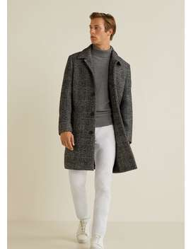 Prince Of Wales Checked Wool Coat by Mango