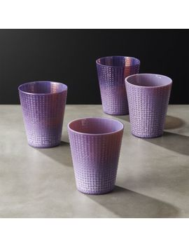 Dip Milky Purple Double Old Fashioned Glasses Set Of 4 by Crate&Barrel