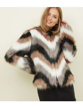 Brown Stripe Faux Fur Coat by New Look
