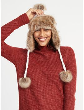 Cable Knit Pom Pom Trapper Hat For Women by Old Navy