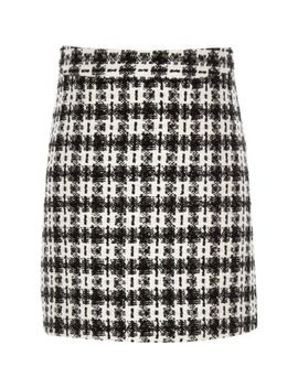 Girls Black Check Boucle Skirt by River Island
