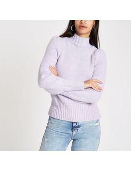 Purple Puff Sleeve Knit Jumper by River Island