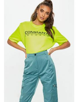 Neon Yellow Company Records T Shirt by Missguided