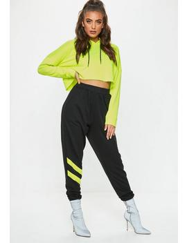Black Reflective Detail Stripe Joggers by Missguided