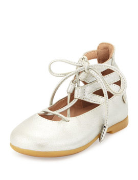 Belgravia Baby Leather Ballerina Flat, Silver, Youth by Aquazzura