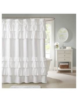 Solid Ruffle Shower Curtain Solid White by Target