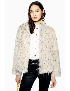 Snow Leopard Print Coat by Topshop