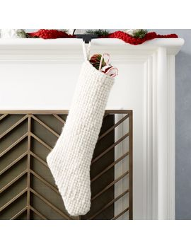 Cozy Weave Ivory Stocking by Crate&Barrel