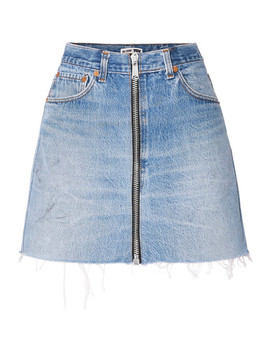 + Levis Zip Embellished Frayed Denim Mini Skirt by Re/Done