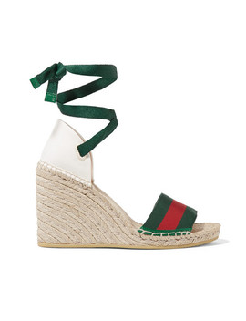 Lilibeth Striped Grosgrain And Canvas Wedge Espadrilles by Gucci