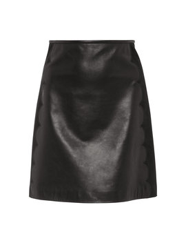 Scalloped Leather Mini Skirt by Red Valentino